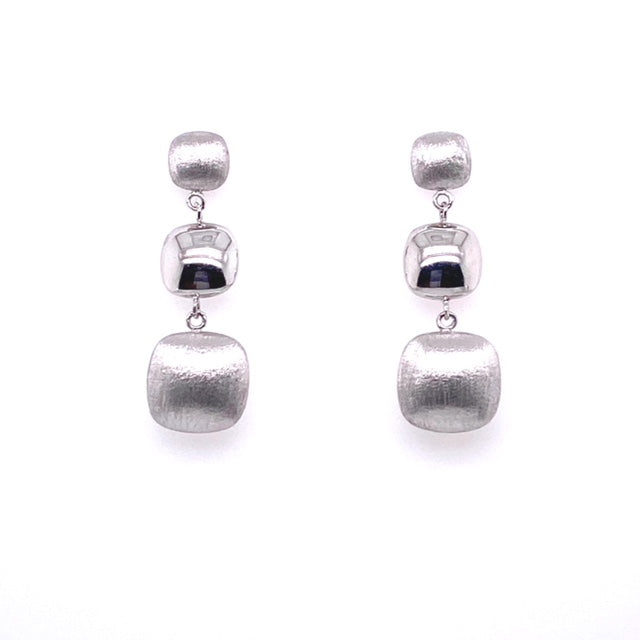 Two finishes; brushed and high polished  14k white gold   3 gold beads   31.00 mm long  Secure friction backs