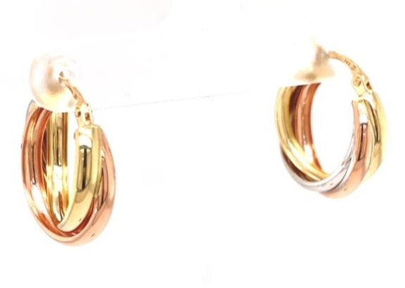14k yellow, rose & white gold.  Italian made  Hoop style                            Secure latch back closure.  16.00 mm