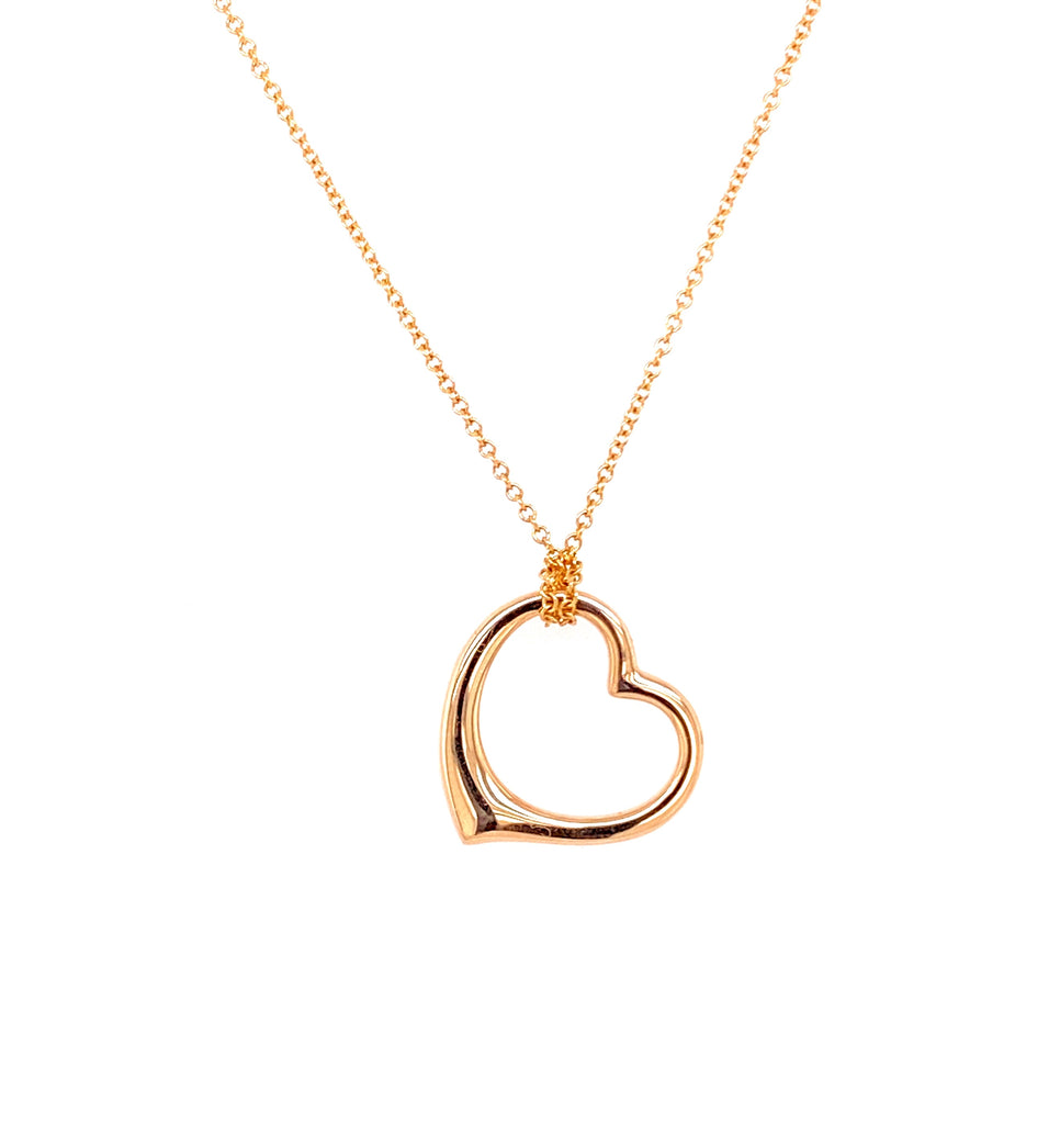 "14k yellow gold open heart $260.00  16"" long chain $160.00 (optional)  Secure clasp"