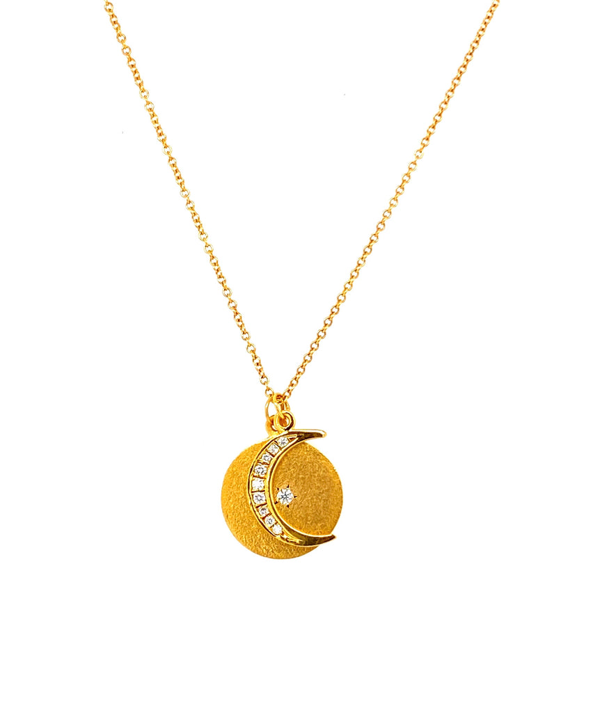 "14k yellow gold  Matte finish  Made in Israel  16"" long with sizing loop  0.09 round diamonds  13mm size  Two separate charms; round disk & crescent moon"