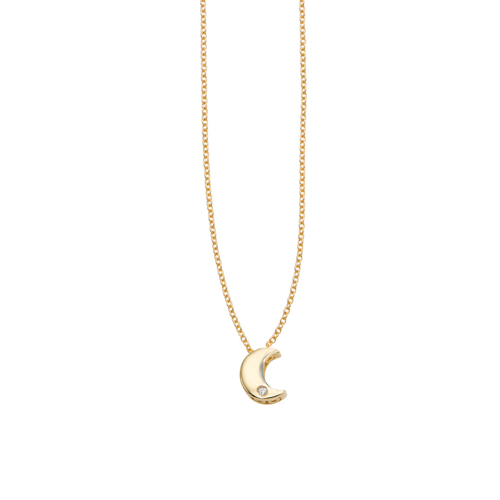 "14k yellow gold necklace.  18"" long with sizing loop at 16""  Crescent moon charm  Secure lobster catch  White round diamond 0.005 cts"