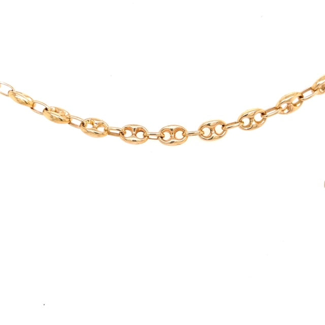"14k yellow gold.  Mariner link.  Secure spring catch.  7.5"" long  8.00 mm thickness"