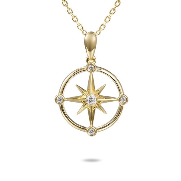 Beautiful compass pendant.  From Alamea Hawaii  14k yellow gold.  Secure bail  Round diamonds 0.10 cts   22.00 mm length (including bail)  1.1 mm gold chain available (optional, not included in price) $199.00