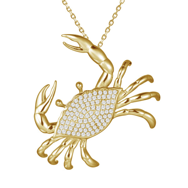 Beautiful crab pendant.  14k yellow gold.  Secure bail  22.00 mm length.  Round diamonds 0.13 cts   1.1 mm gold chain available (optional, not included in price) $199.00