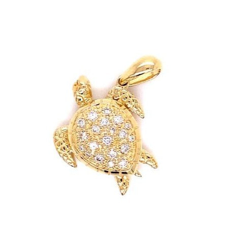 Beautiful Honu pendant  14k yellow gold  Secure bail  Round diamonds 0.17 cts  22.00 mm length.  1.1 mm gold chain available (optional, not included in price) $199.00