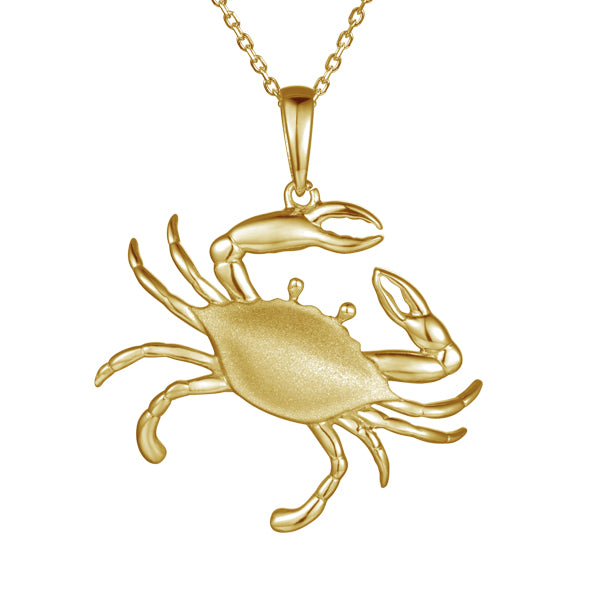 Beautiful crab pendant.  14k yellow gold  Secure bail  22.00 mm length.  1.1 mm gold chain available (optional, not included in price) $199.00