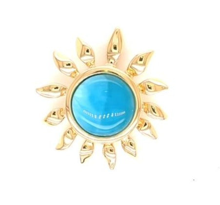 14k yellow gold  Rare Larimar stone  Slider bail  20.50 mm