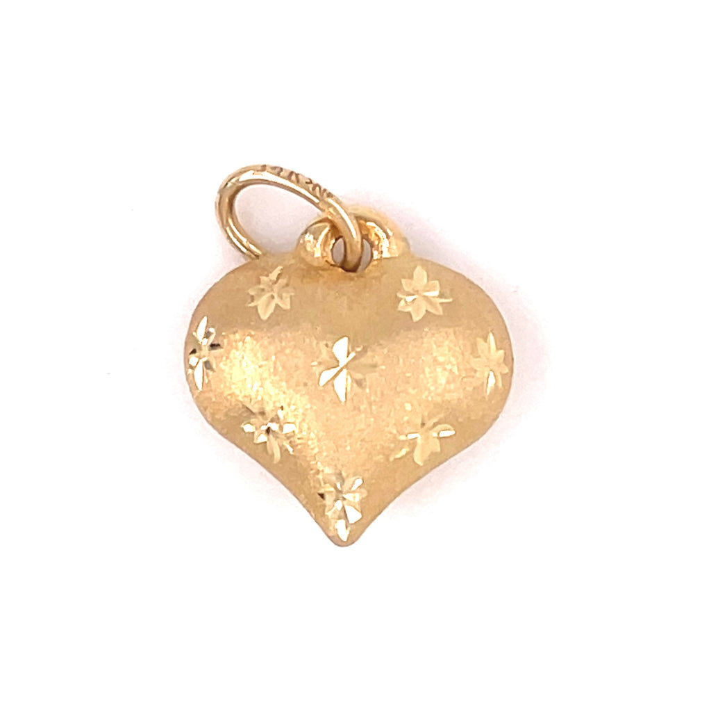 14k yellow gold.  Italian made  Heart shape  Puffed charm  Secure bail  10.00 mm length