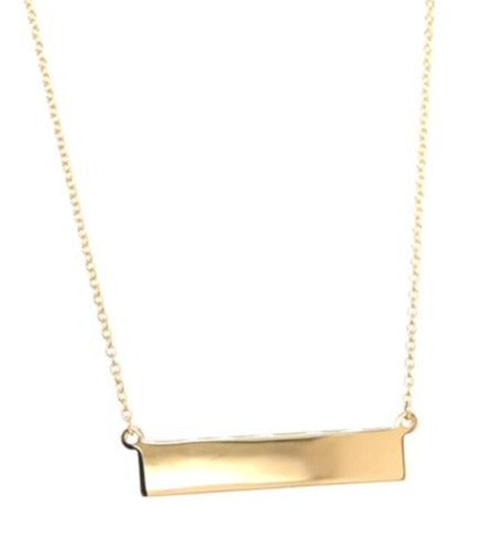 14k white gold.  Italian made  Blank bar  1.1 mm cable gold chain  Engravable