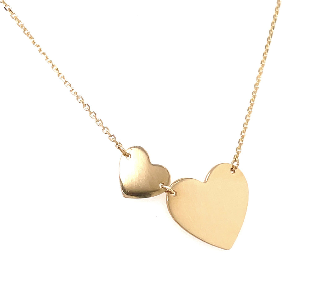 "14k yellow gold.  Italian made  1"" inch two flat hearts  1.1 mm cable gold chain  Engravable   19"" long with sizing loop at 18""  Secure lobster catch"
