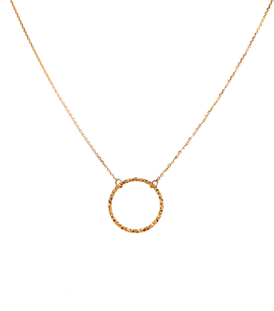 14k Yellow Gold Single Open Circle Necklace