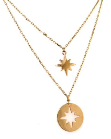 "14k yellow gold.  Italian made  1.1 mm cable gold chain  18"" long & 16"" long chains  Star necklace & cut out star necklace 12.00 mm   Secure lobster catch  1"" extra sizing loop"