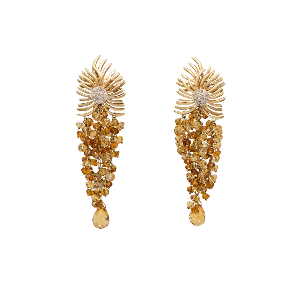 Citrine & Diamond Drop Earrings By Vianna