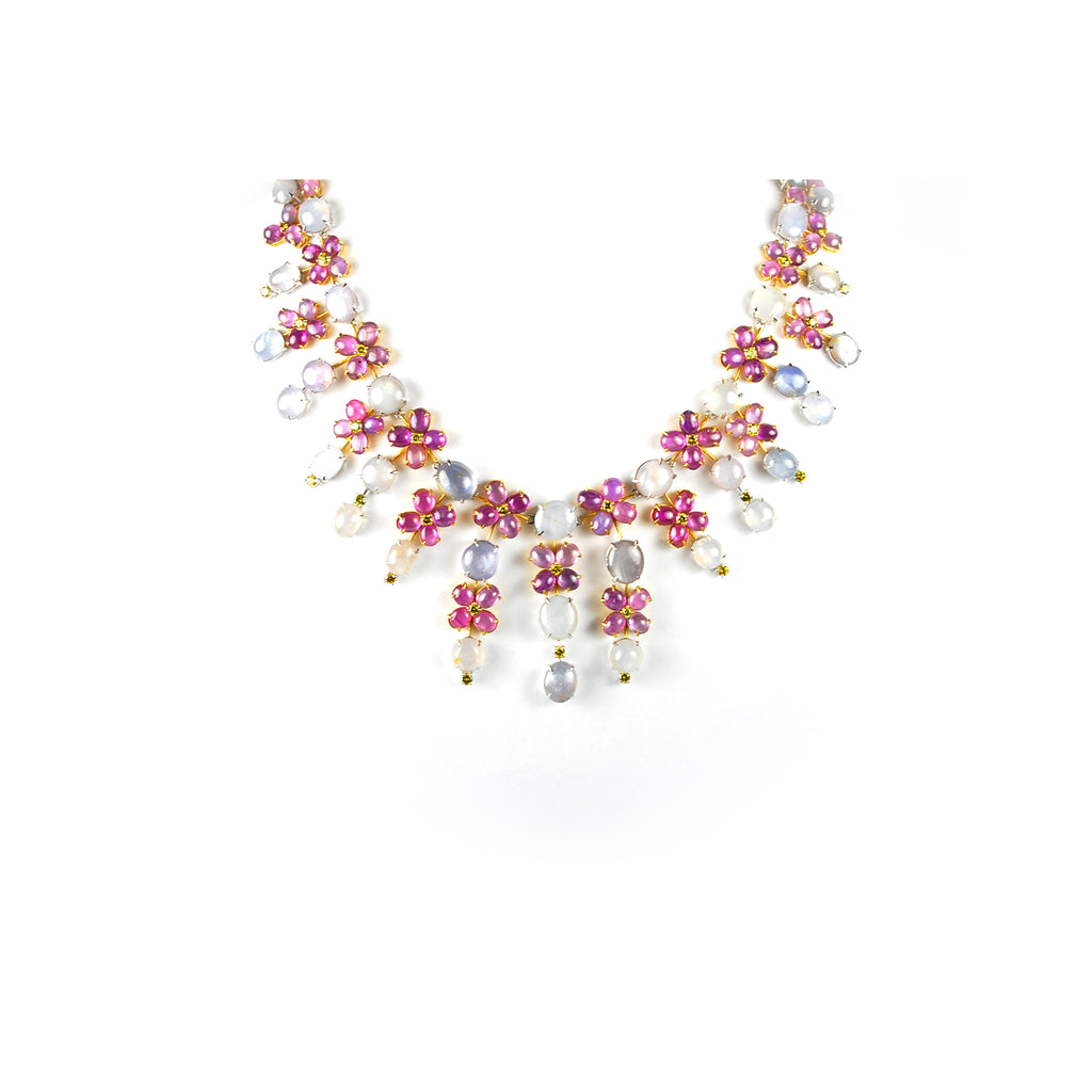 Star sapphire & star ruby necklace