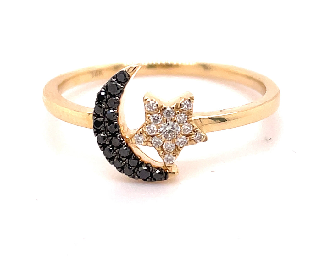 Set in 14k yellow gold  Round black diamonds 0.13 cts  Moon & star design