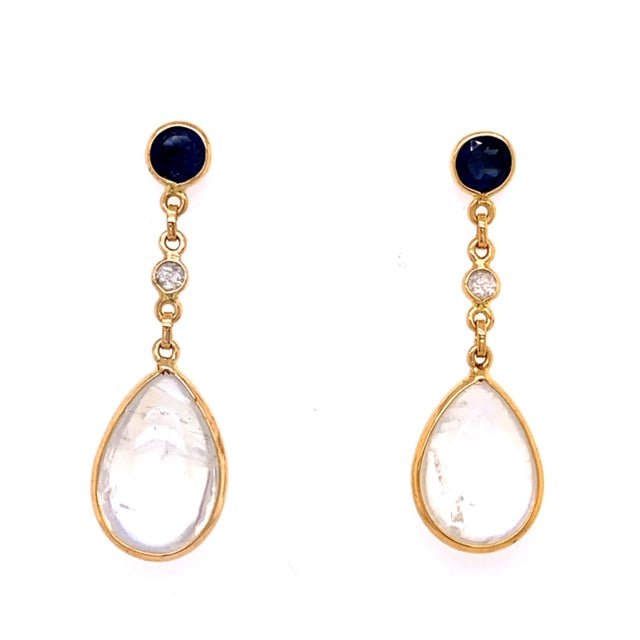2 pear shape cabochon moonstone earrings 8.00 mm long  2 round sapphires 0.80 mm long  Set in 18k yellow gold  Secure friction backs  30.00 long