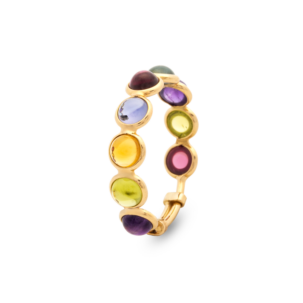Set in 18k yellow gold.   Adjustable shank       Size 7-9  8 multicolor cabochon stones 4.50 mm