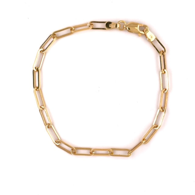 "14k yellow gold bracelet  Paper clip link.  Secure lobster clasp  7.5""   3.25 mm thickness"