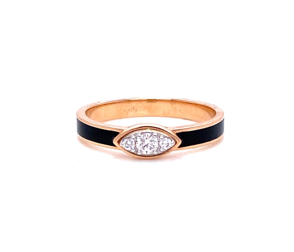Stackable & fashionable ring  Onyx & white round diamonds 0.11 cts  14k yellow gold  Size 6.5 (sizeable)