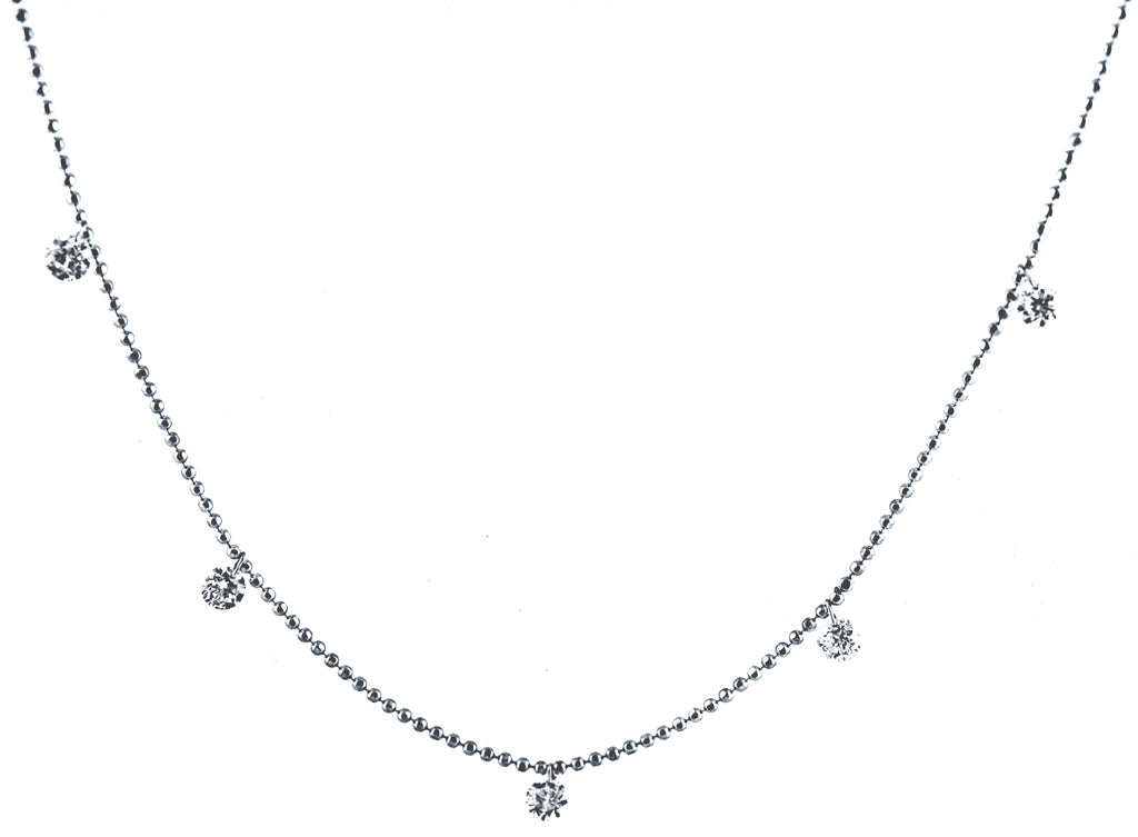 Five Dangling Diamond White Gold Necklace
