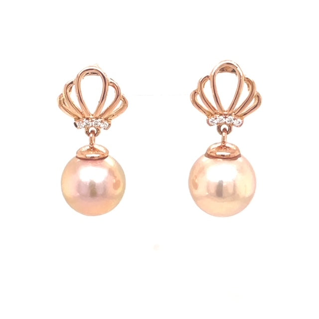 Two Cultured Pearls  8.50 mm  Set in 14k Rose Gold  Secure friction Backs  Round diamonds