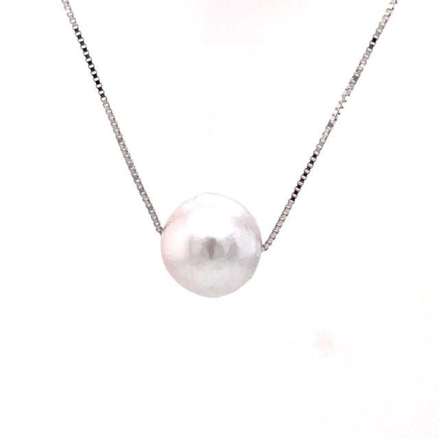 "White south sea pearl  13.00 mm  Good luster  14k white gold chain  16"" long"