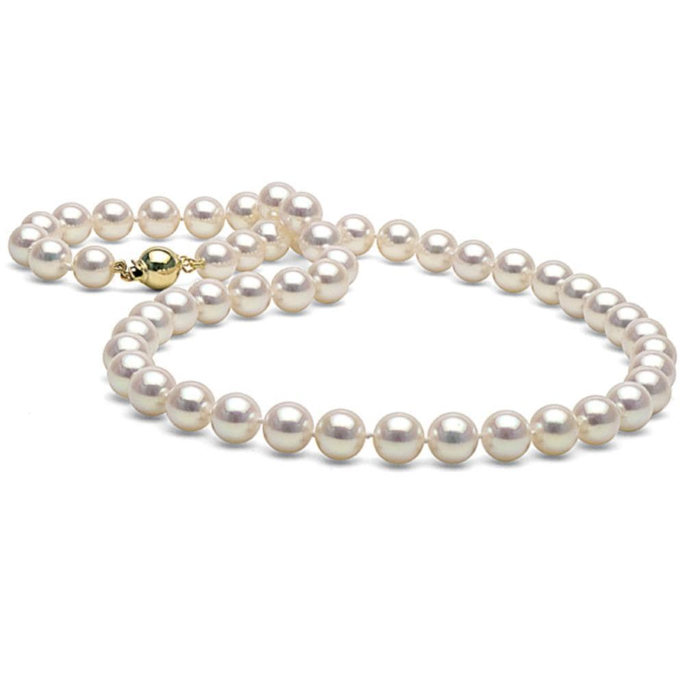 "Cultured pearls 8.5 mm   14k gold plated clasp  18.5"" long  Good luster"