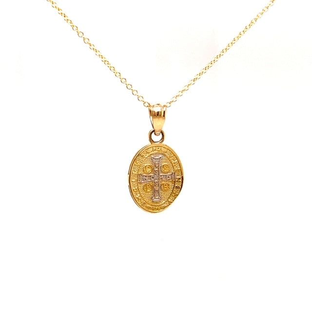 "14k yellow gold.  Italian made  14.00 mm long  Two tone  San Benito charm  16"" yellow gold chain optional $199.00"