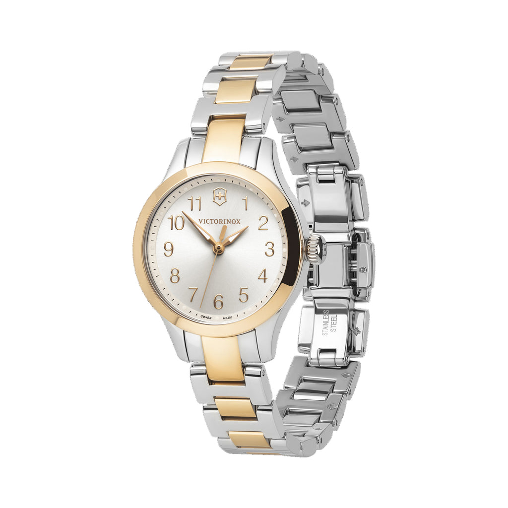 The delicate, detail-driven timepiece works for any occasion, with any outfit, becoming a constant in your busy day.  Feminine and timeless design for any occasion  Sunray brushed dial  Super Luminova on dots, hands and numerical indexes for easy readability Item number	241842 Bracelet material	stainless steel Diameter	28 mm Collection	Alliance