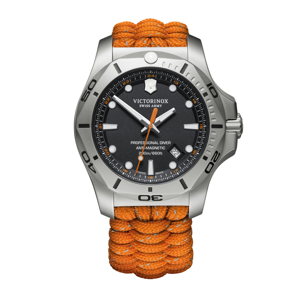 ISO 6425 certified diver watch with antimagnetism and water resistance up to 200 m, sandblasted stainless steel case for a modern look and innovative handwoven survival paracord strap with reflective tracers to fit safely over a diving suit  Delivered in a shockproof box housing an additional rubber strap and a color-matched protective bumper with removable magnifying glass Item number 	241845 Bracelet material 	textile Diameter 	45 mm Collection 	I.N.O.X. Professional Diver
