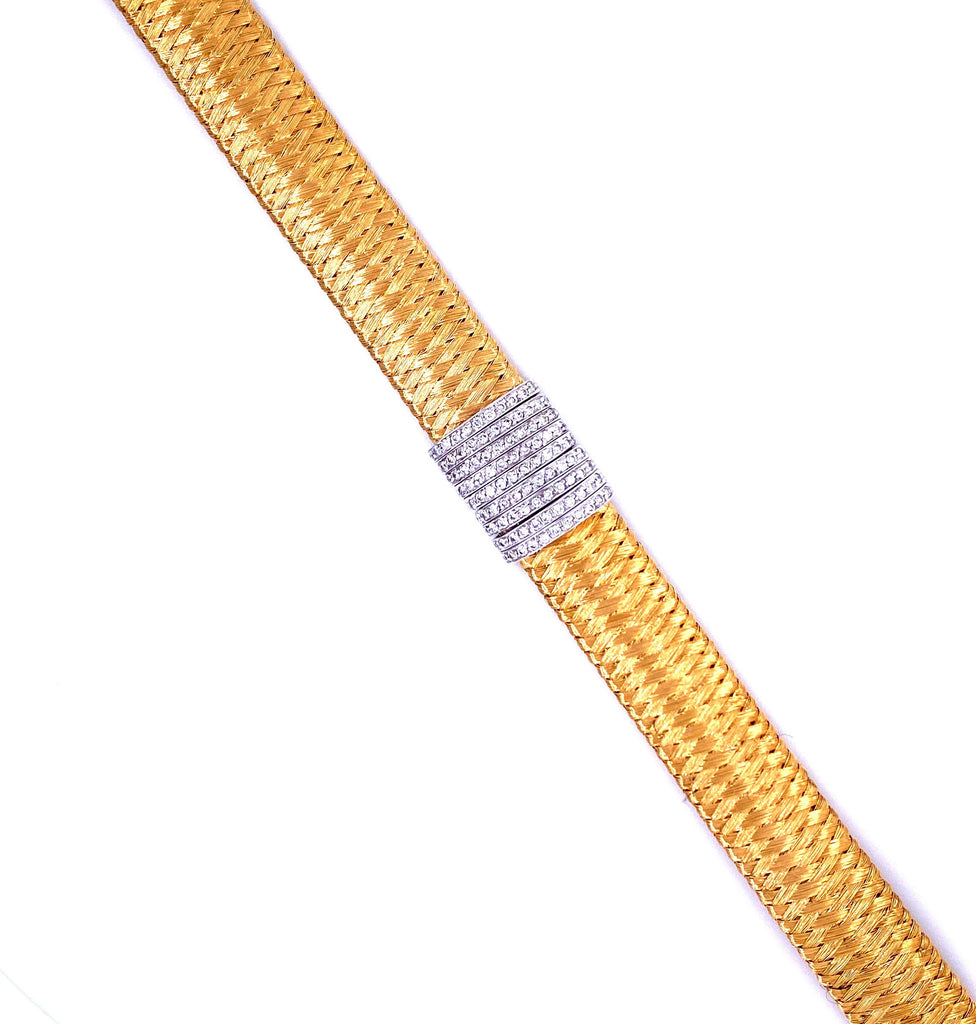 "Roberto Coin Gold & Diamond Bracelet.   18 kt Yellow Italian Gold Woven Mesh Style Bracelet  143 Diamonds set in 18 kt White Gold  Diamond Estimate 0.69 cts  Gold Safety Clasp  6.3/4"" long  13.50 mm wide"