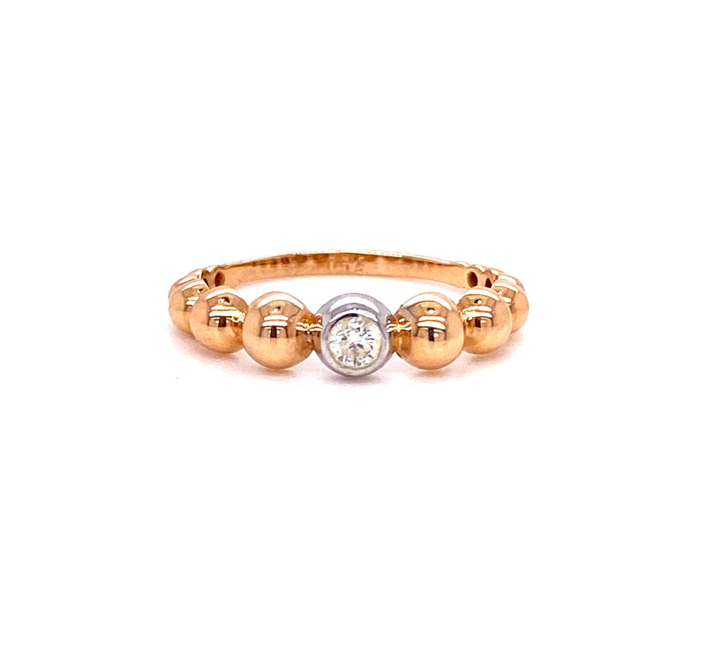 One Diamond Beaded Ring