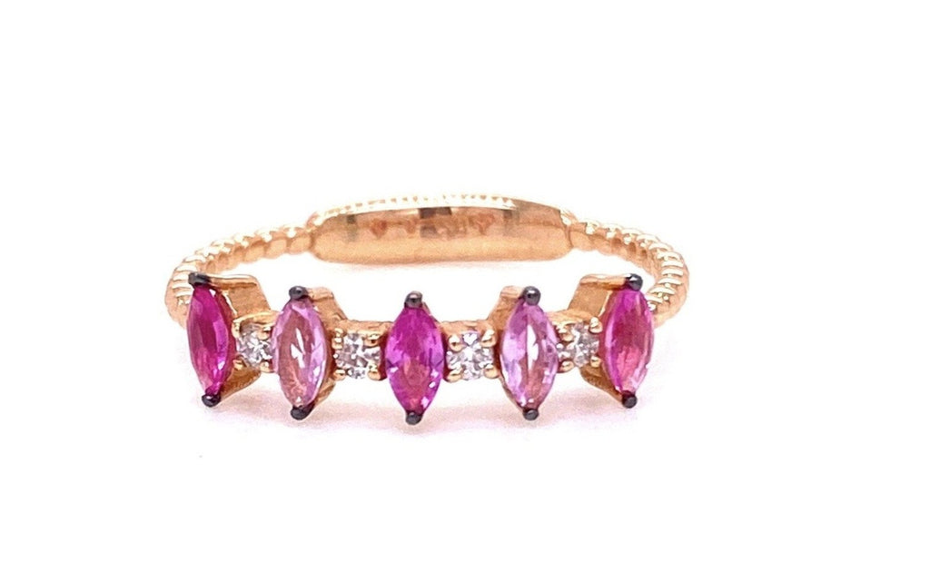 Dainty stackable ring   Set in 14k rose gold  Five dark & soft pink tourmalines in marquise cut  Four white round diamonds  Beaded ring  Size 7 (sizeable)