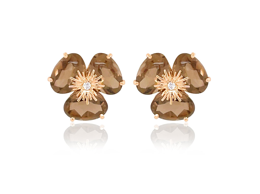Pensée collection made in Brazil  Pensée earrings are inspired in Pansy flowers.  Smoky quartz  Set in 18k rose gold  Secure & comfortable friction backs  12.50 mm  Two small diamonds