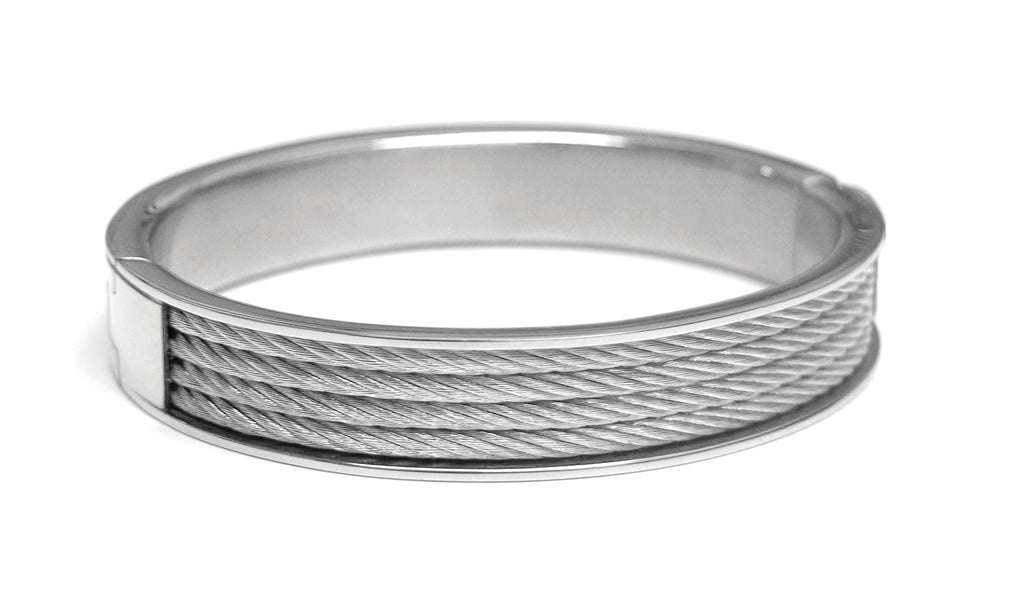 Stainless Steel silver tone wire bangle