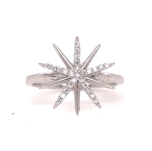 14k white gold ring  26 round diamond 0.15 cts  Size 6 (sizable)