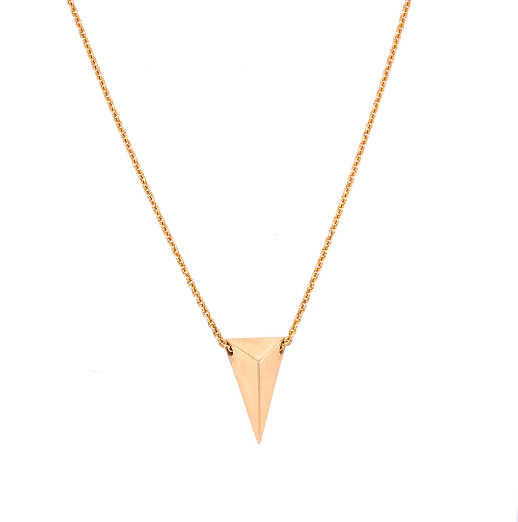 "14k Italian gold necklace  Secure lobster catch  16"" long  3D triangle charm"
