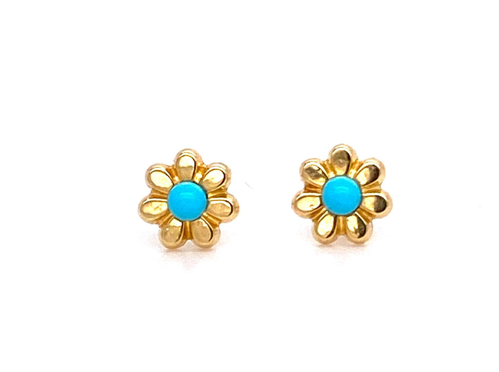 Beautiful baby earrings Secure baby screw backs  18k yellow gold  5 mm   Two small turquoise stone