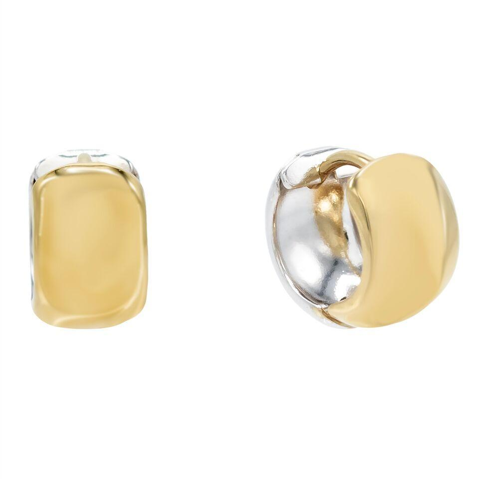 Thick hoop earrings  Set in 14 yellow gold.  Easy to wear  Secure latch system  6.70 mm thickness  15.00 mm length