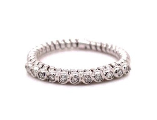 Italian designer Novecento noventanove.  Weave style.  Classic and contemporary design   11 Round diamonds  0.11 cts.  2.40 mm wide  7.0 size (sizeable)