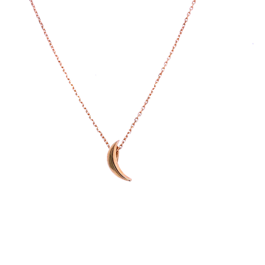 14kt Yellow Gold Chain  Sliding Moon Charm  Charm 5 mm  Chain 18''  Sizing Loop 16'' 17''