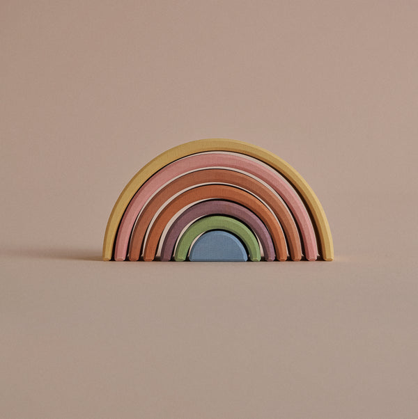 Wooden Rainbow stacker - Pastel (Small)
