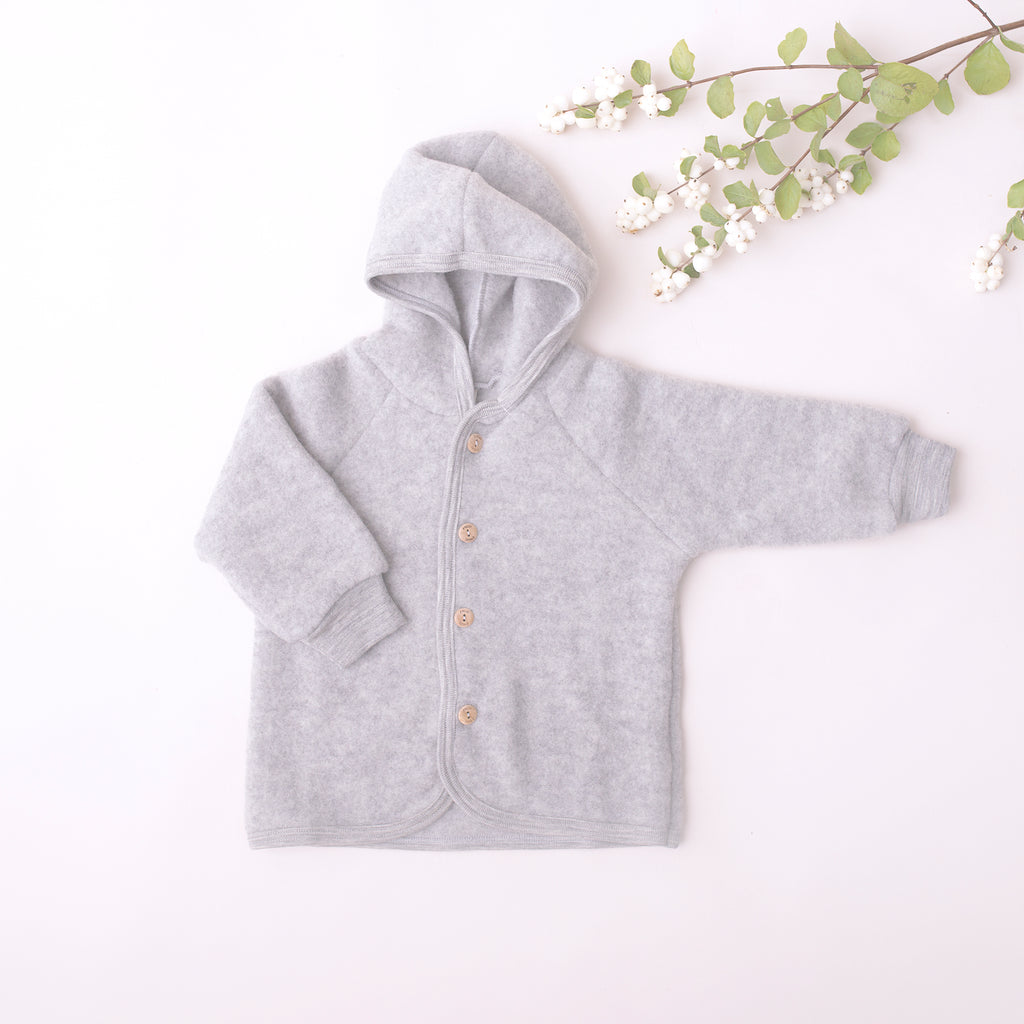 Organic Fleece Hooded Jacket - Grey