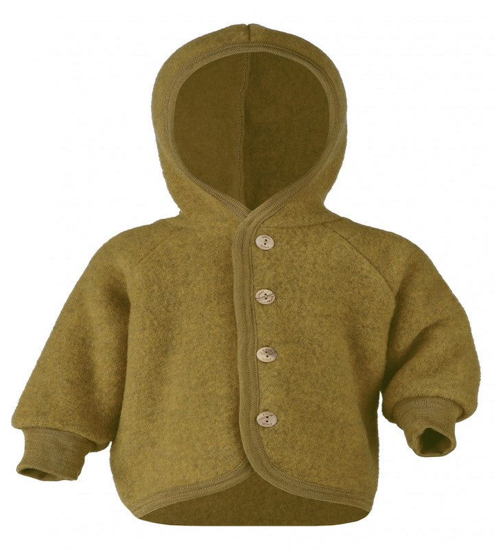 Organic Fleece Hooded Jacket - Saffron