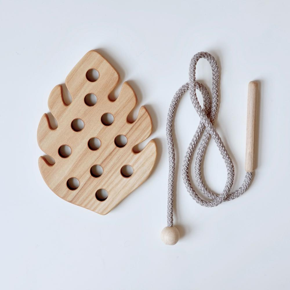 Wooden Lacing Toy - Monstera Leaf
