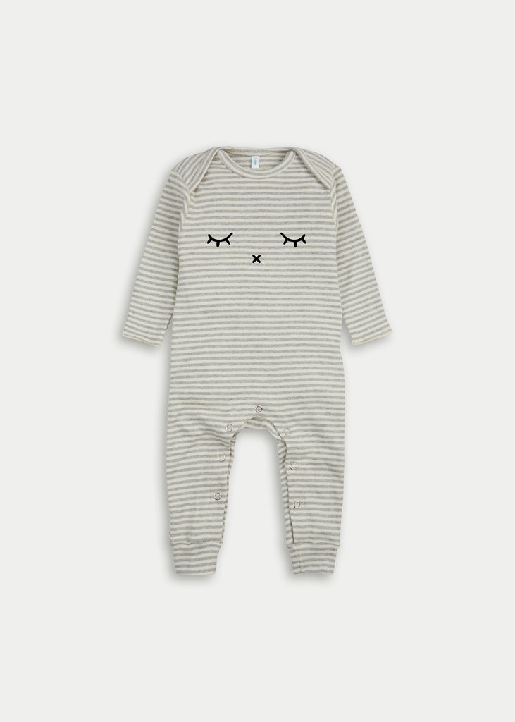 Organic cotton playsuit SLEEPY - Grey Stripe