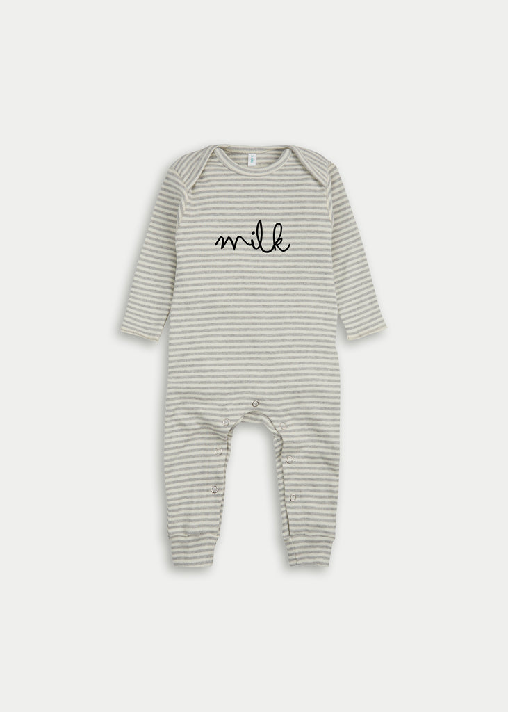 Organic cotton playsuit MILK - Grey Stripe