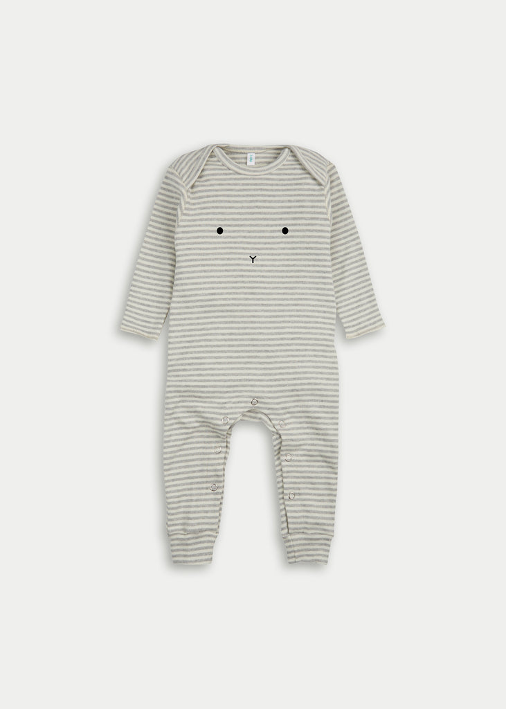 Organic cotton playsuit BUNNY - Grey Stripe