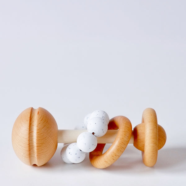 Wooden baby rattle - Speckled