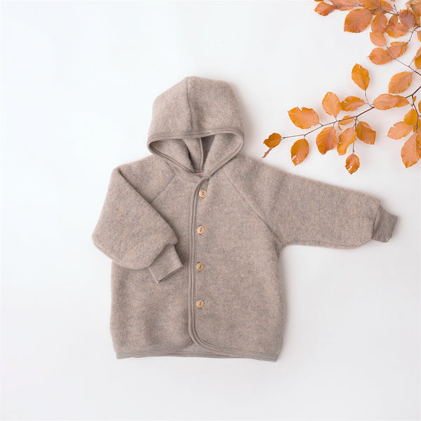 Organic Fleece Hooded Jacket - Walnut